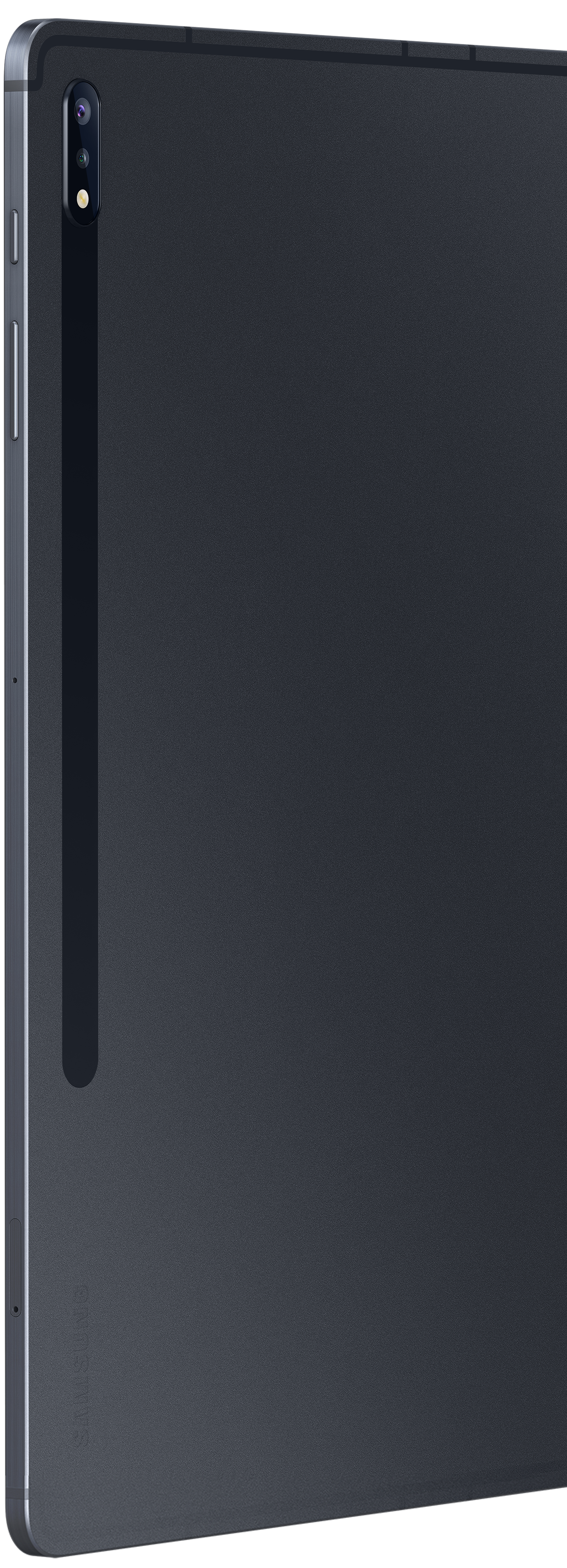 Close-up of Galaxy Tab S7+ in Mystic Black's rear view shows the rear camera placement