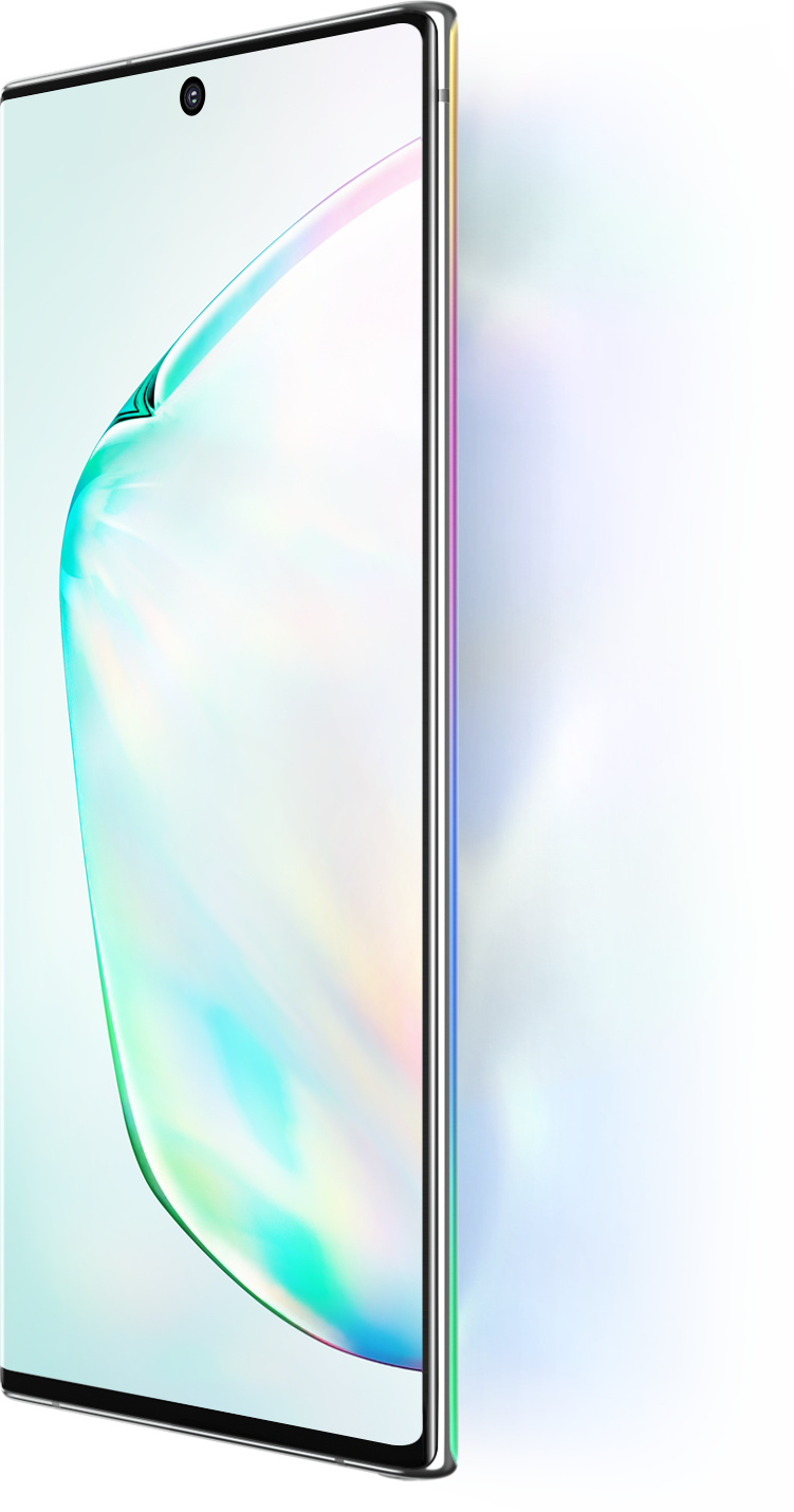 Galaxy Note10 and Galaxy Note10 + seen at a three-quarter angle with an abstract graphic onscreen. Next to Galaxy Note10 and Note10 + it says 6.3 inch display and next to Galaxy Note10 + it says 6.8 inch display