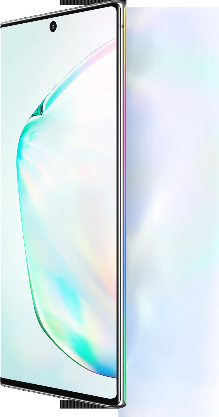 Galaxy Note10 et Galaxy Note10 + vus à un angle de trois quarts avec un graphique abstrait à l'écran. À côté de Galaxy Note10 et Note10 +, il indique un écran de 6,3 pouces et à côté de Galaxy Note10 +, il indique un écran de 6,8 pouces.