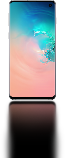 Galaxy S10 seen from the front with an abstract coral and blue gradient graphic onscreen.
