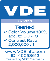 VDE logo. 07/2021 Tested Color Volume 100% acc. to DCI-PE. Contrast ratio 2,000,000 to 1. www dot VDE info dot com. ID 40053613 Tested by VDE Germany.