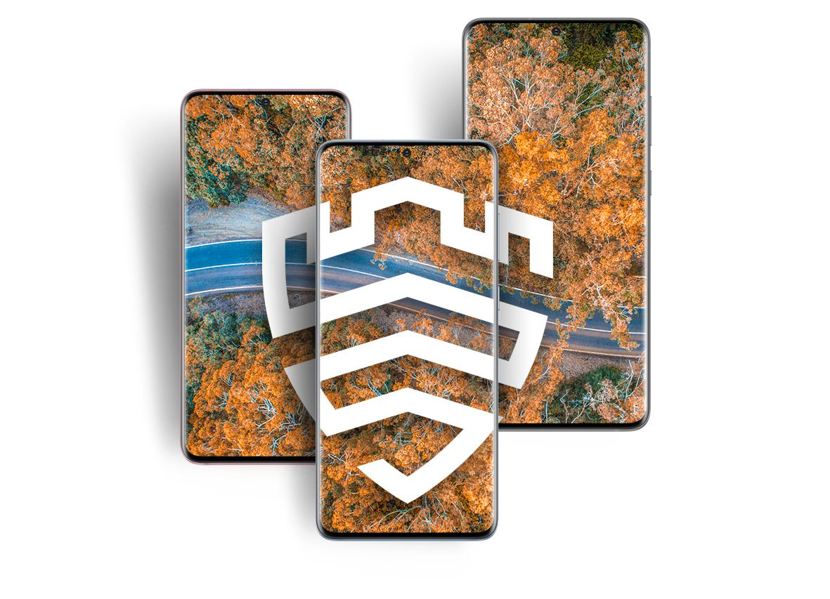 Galaxy S20, S20 plus, and S20 Ultra all side by side with an image of a forest with autumn foliage across all three displays. On top of the image is the Samsung Knox logo