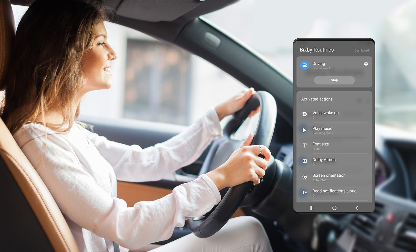 A scene of running Bixby Routines for driving and a picture of woman driving in the car.