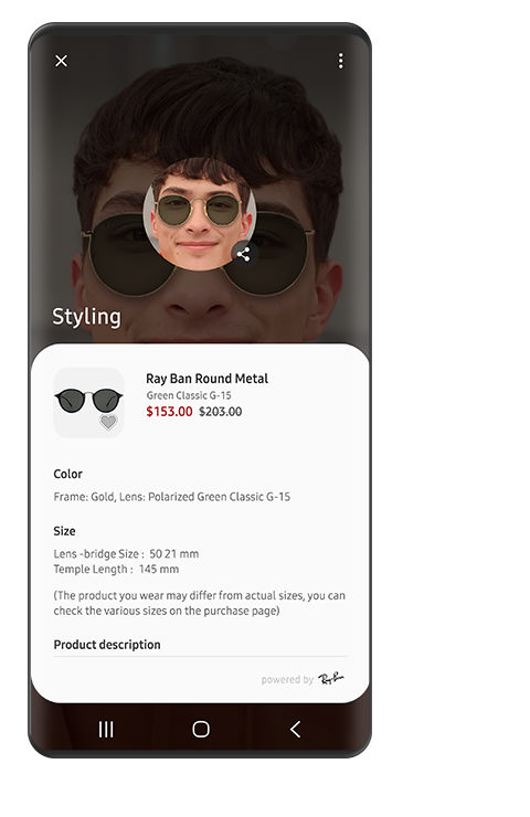 A screen of a man using the sunglasses effect and displaying information (sunglasses name, price, colour, size, etc.) with Bixby Vision.