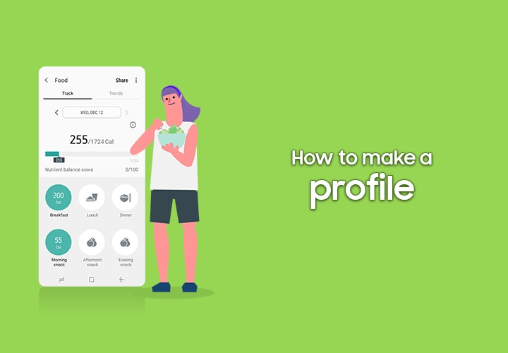A video tutorial of Samsung Health, the title: How to make a profile.