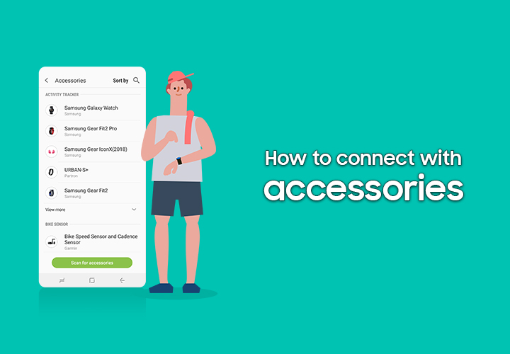 A video tutorial of Samsung Health, the title: How to connect with accessories.