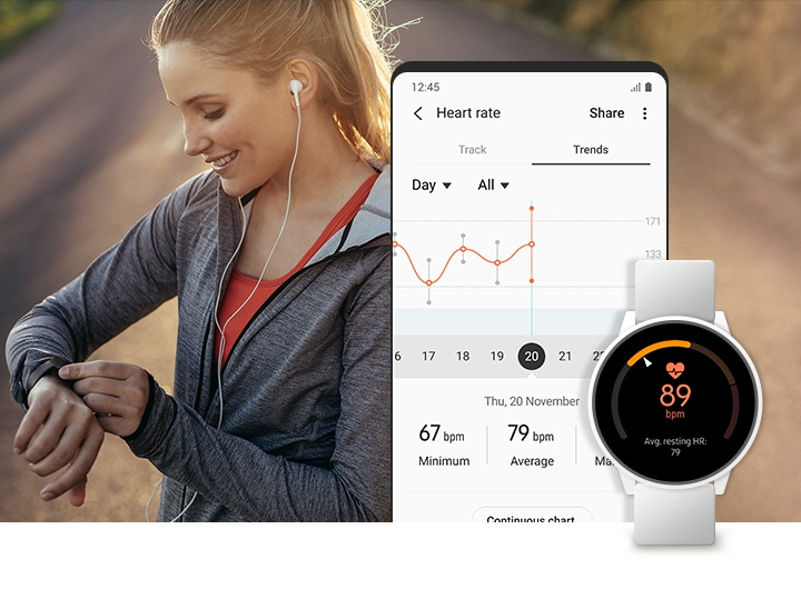A woman is checking the Galaxy Watch while exercising on the street. A smartphone and a Galaxy Watch show the trends of her heart rate in the Samsung Health app.