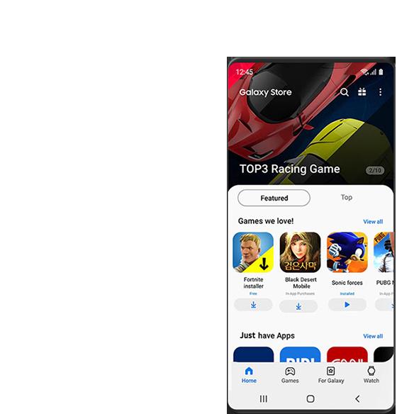 顯示 Galaxy Store 的遊戲 GUI 畫面。 前 3 名賽車遊戲顯示在屏幕的頂部,而 Fortnite,Black Desert 和 Sonic Forces 量是特色遊戲在中間。