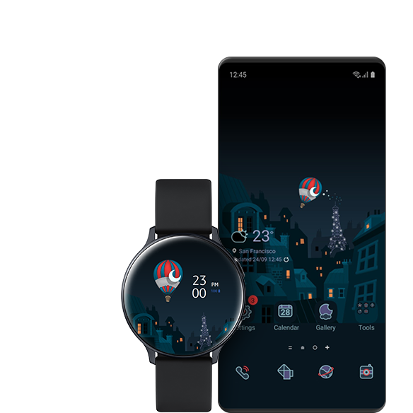 A GUI screen showing a Galaxy Watch and a Galaxy phone with similar themes.