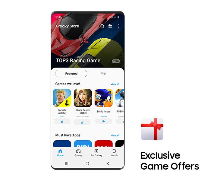 The Games GUI screen of the Galaxy Store is shown. The top 3 racing games are shown at the top of the screen, and Fortnite, Black Desert, and Sonic Forces are the featured games in the middle.