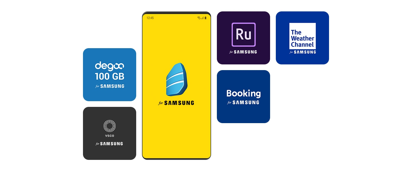 A screenshot of various icons for third-party apps available in the Galaxy Store, including The Weather Channel for SAMSUNG, Degoo for SAMSUNG, VSCO for SAMSUNG, Booking.com for SAMSUNG, Adobe Premiere Rush for SAMSUNG, and Rosetta Stone for SAMSUNG.