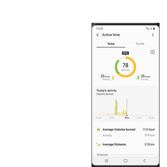 Samsung Health 應用程式中的各種活動追蹤和健康監測功能的 GUI 畫面,包括運動時間、距離、卡路里和目標動力。