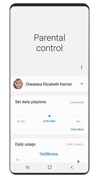 Simulated image of the Samsung Kids Parental control screen that shows you how to set a play time limit.