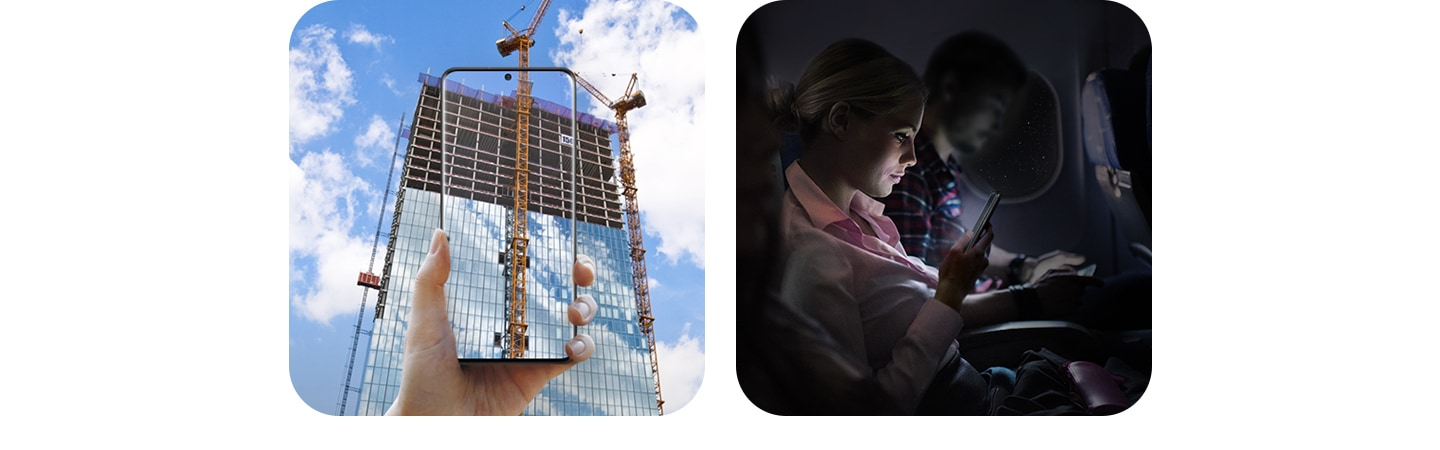 A hand holding Galaxy S20 Ultra in front of a skyscraper under construction, with the image continued on the Infinity-O Display, and a woman using the Galaxy S20 Ultra as she sits in her seat on a dark plane