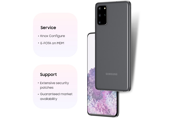 Two Galaxy S20 Ultra phones, one shown from the rear and the other shown from the front with a graphic purple wallpaper onscreen. A graphic says Service, Knox Configure, E-FOTA on MDM. Another graphic says Support, Extensive security patches, Guaranteed market availability