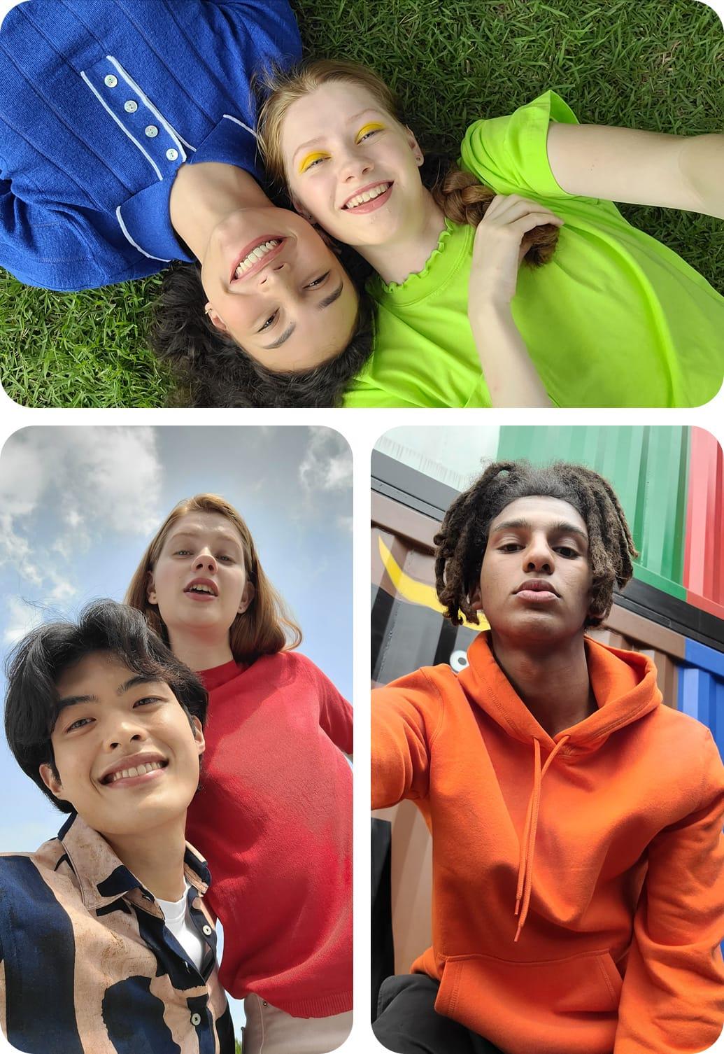 Trois types de selfies, pris avec l'appareil photo frontal 32 MP pour des prises de vue détaillées et de haute qualité. Deux femmes sont allongées dans un champ, leurs tetes se touchant. Un selfie en contre-plongée d'une femme. Un selfie en contre-plongée d'un homme et d'une femme regardant le téléphone.