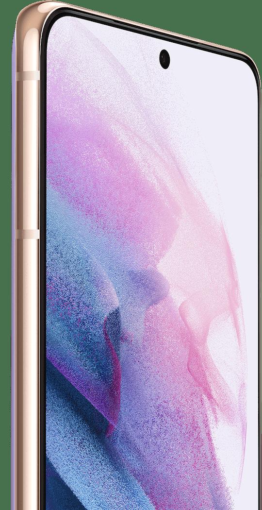 Dos teléfonos Galaxy S21+5G en color Phantom Violet, uno visto desde el frente y el otro desde la parte posterior. La vista desde el frente tiene un fondo de pantalla con gráfico violeta y un indicador para la cámara de selfie de 10 MP.