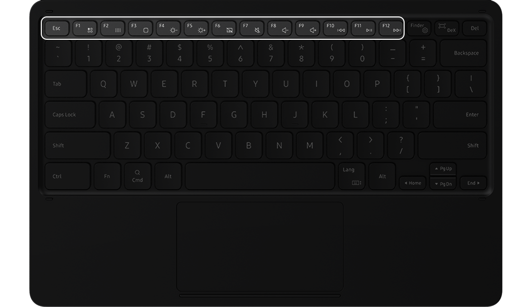 A function key is highlighted on the BookCover Keyboard to show its placement