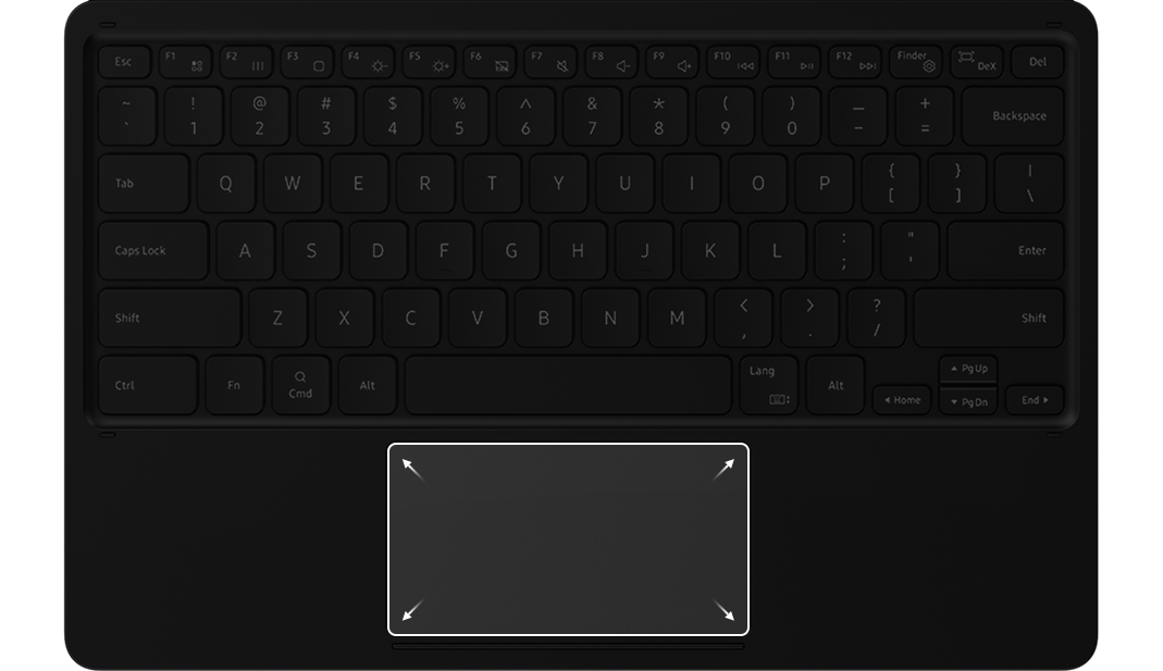 The touchpad is highlighted on the BookCover Keyboard 							to show its larger size