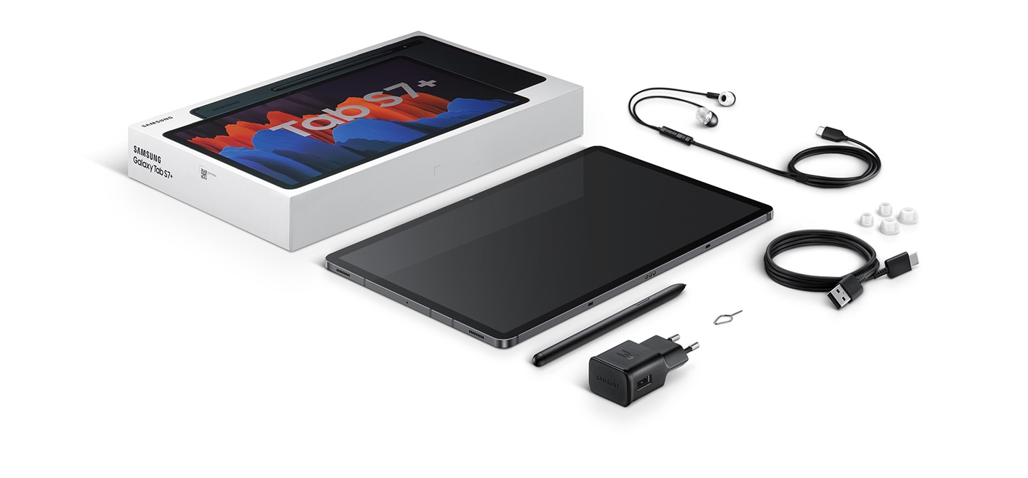 Flat lay of items included in box with Galaxy Tab S7+. The packaging, the device, S Pen, travel adapter, USB Type-C earphones, data link cable, and SIM ejection pin