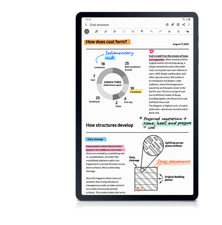 Galaxy Tab S7+ seen from the front with Samsung Notes GUI onscreen