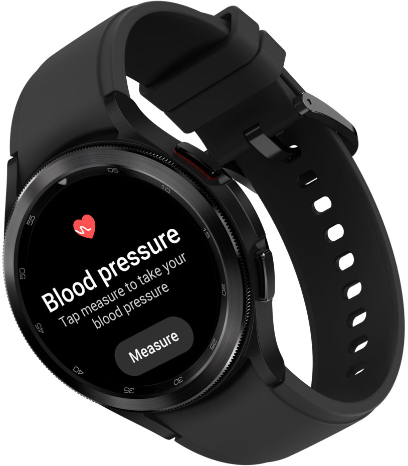 The Galaxy Watch4 Classic device in black color for both the body and band is shown. On the watch face, the menu for Blood Pressure and ECG measurement features are displayed.