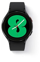 Galaxy Watch4 with a graphic green watchface.