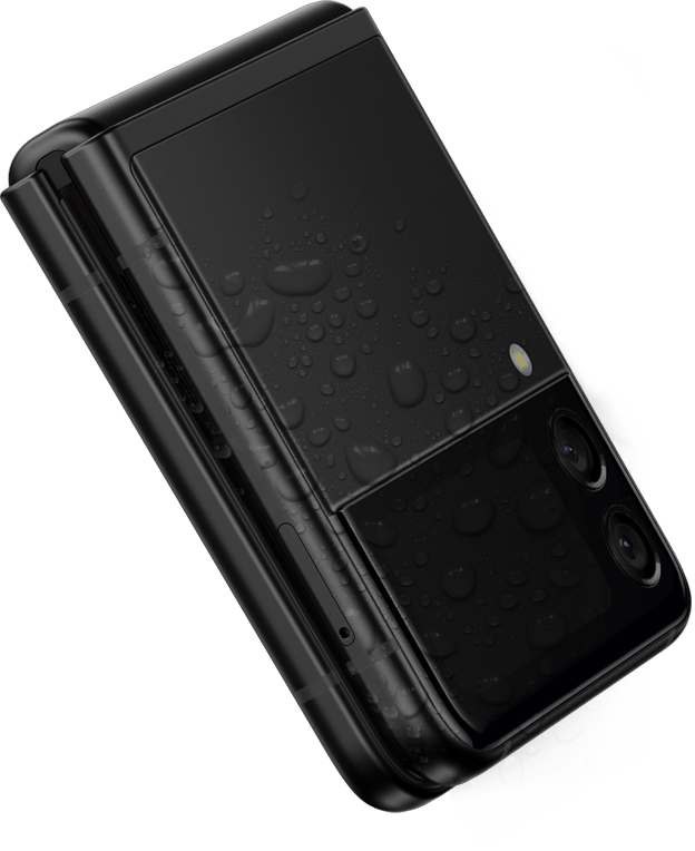 Galaxy Z Flip3 5G folded and seen from the Front Cover, surrounded by a splash of water.