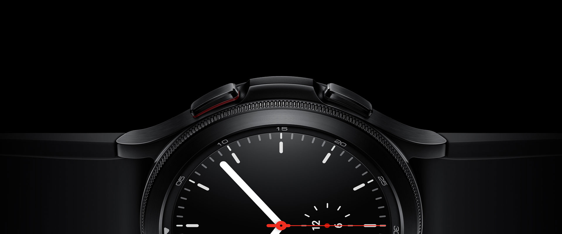 The half side of the watch face of a black Galaxy Watch4 Classic is prominently displayed, focusing on its bezel, materials, and simple watch face screen that is showing the time.