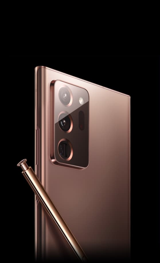 The lower half of the bronze S Pen is revealed from a black background and turns as the Galaxy Note20 Ultra in Mystic Bronze appears. Both items continue turning until the Galaxy Note20 Ultra is seen from the rear at a three-quarter angle and the bronze S Pen is leaning across the back.