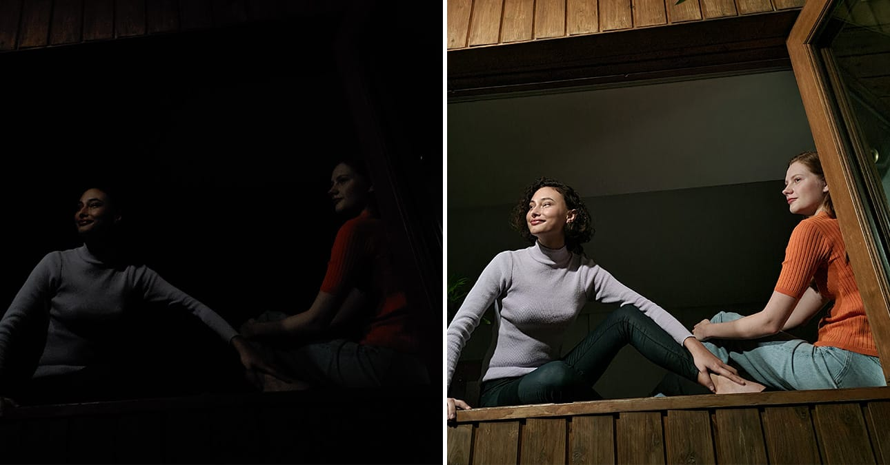 Two women sitting in an open window looking outside. One shot with Galaxy S20 FE without Night mode, and the other shot with Night mode. The image shot with Night mode is clear, detailed, and featuring more color than the other photo.