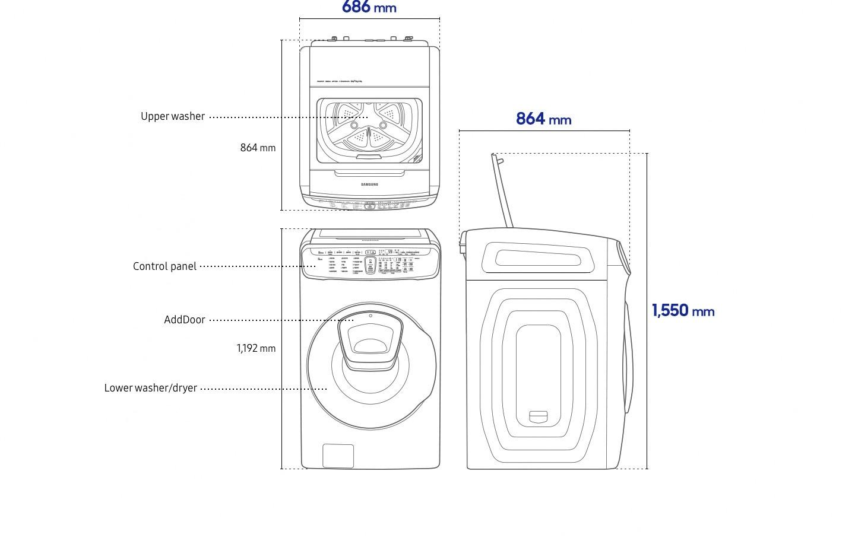 لقطة أمامية لغسالة FlexWash، حيث لوحة التحكم بالأعلى وتشتمل على وظائف التشغيل الضرورية للغسل والتجفيف. يوجد باب إضافي في منتصف مجفف الغسالة.