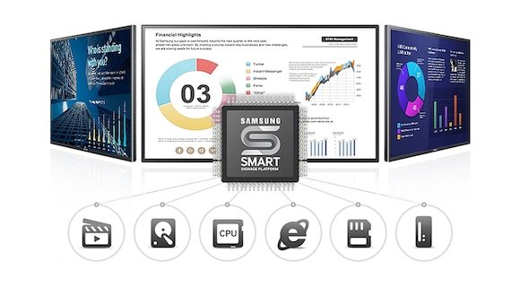 Create, display and manage content effortlessly with embedded Samsung Smart Signage Platform