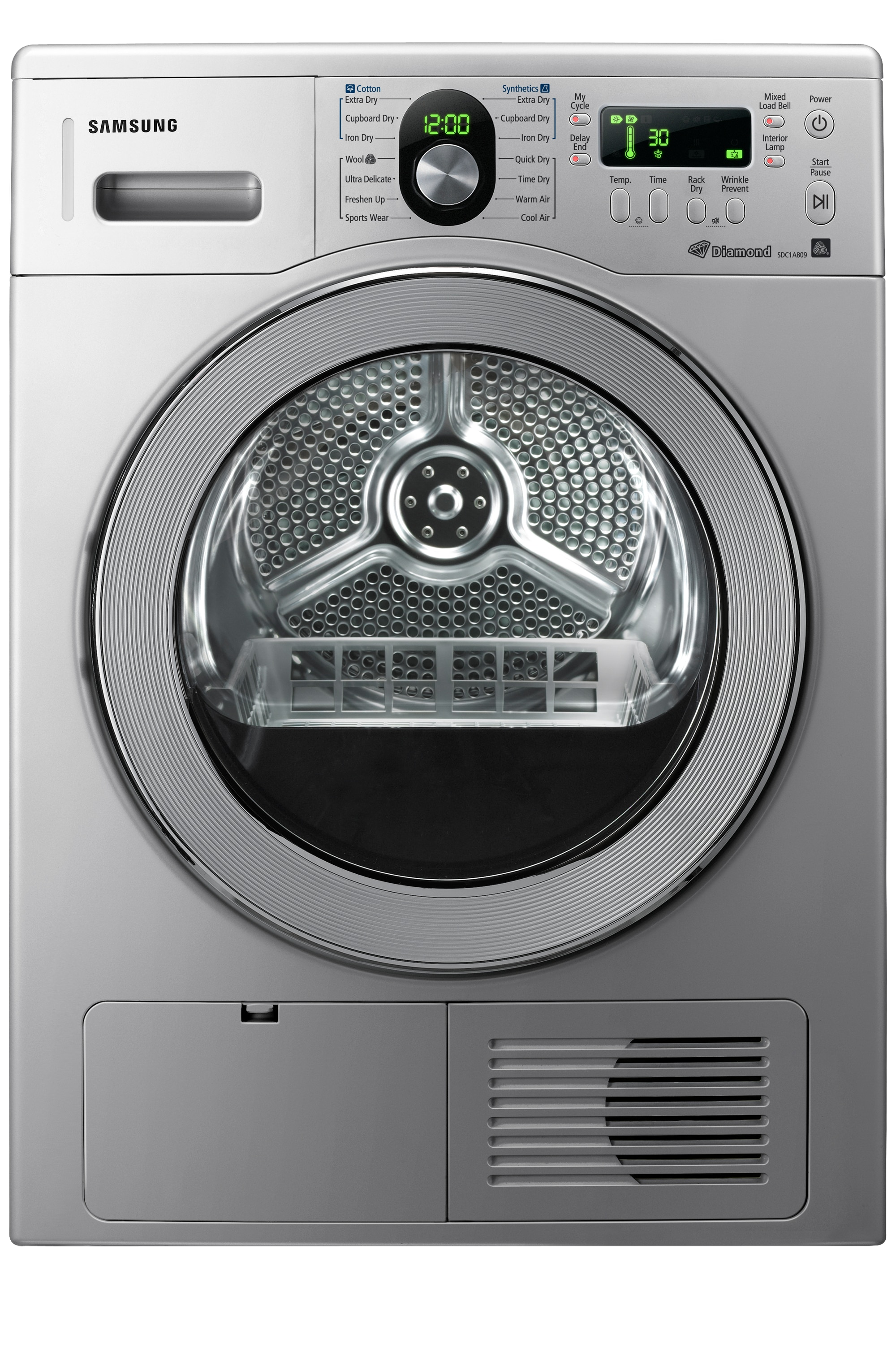 D100 Dryer with Reversible Door, 8 kg, Silver