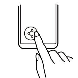 """Ilustração de uma mão a tocar num botão no canto inferior esquerdo do ecrã de um Galaxy S8, representando o passo """"Partilhar"""". Partilhar"""