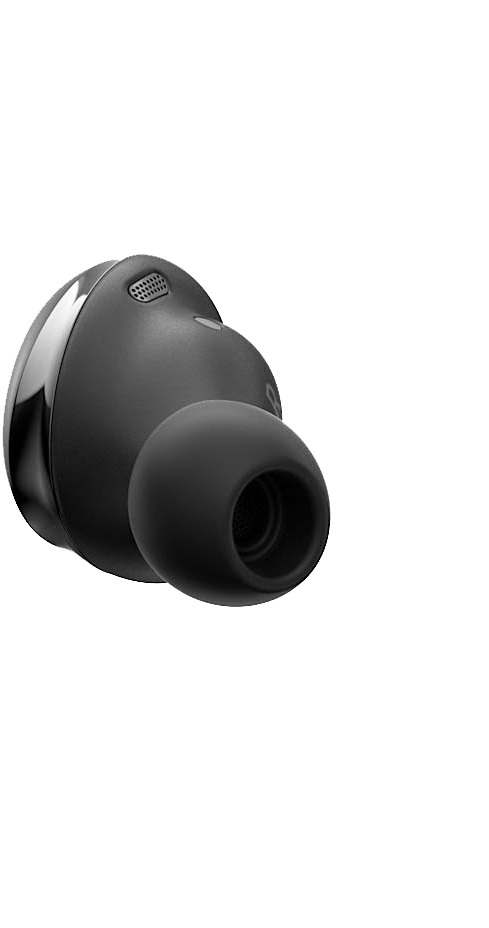 Right Galaxy Buds Pro earbud in Phantom Black seen from the rear.
