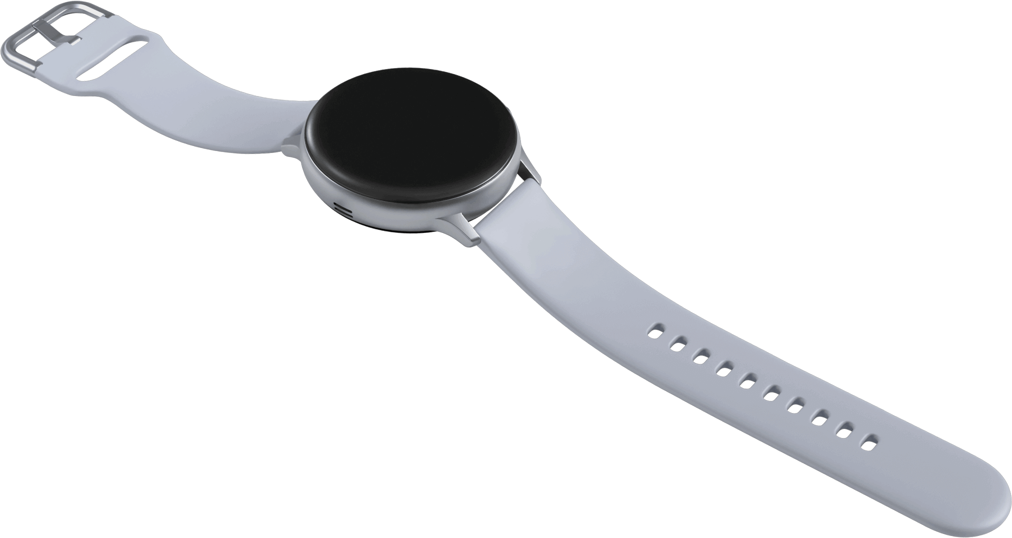 A Galaxy Watch active2 watch in cloud silver charging on a coin-shaped wireless charger directly below it that has the same circumference as the watch face.