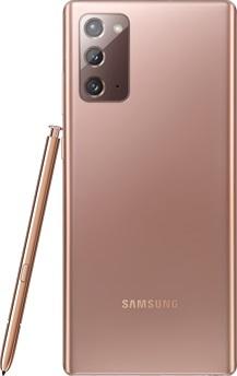 Galaxy Note20 Bronze Mystique vu de dos. Le SPen correspondant est appuyé sur le côté.