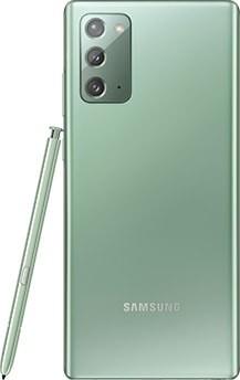Galaxy Note20 Vert Mystique vu de dos. Le SPen correspondant est appuyé sur le côté.
