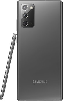Galaxy Note20 Gris Mystique vu de dos. Le SPen correspondant est appuyé sur le côté.