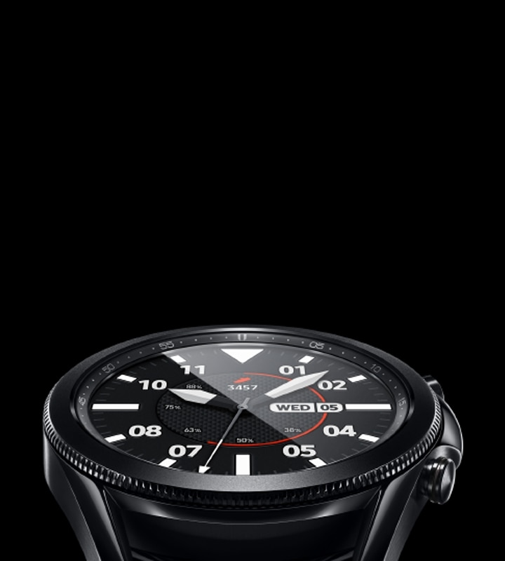 Eye-level view of Galaxy Watch3 in Mystic Black with Sporty Classic Watch Face.