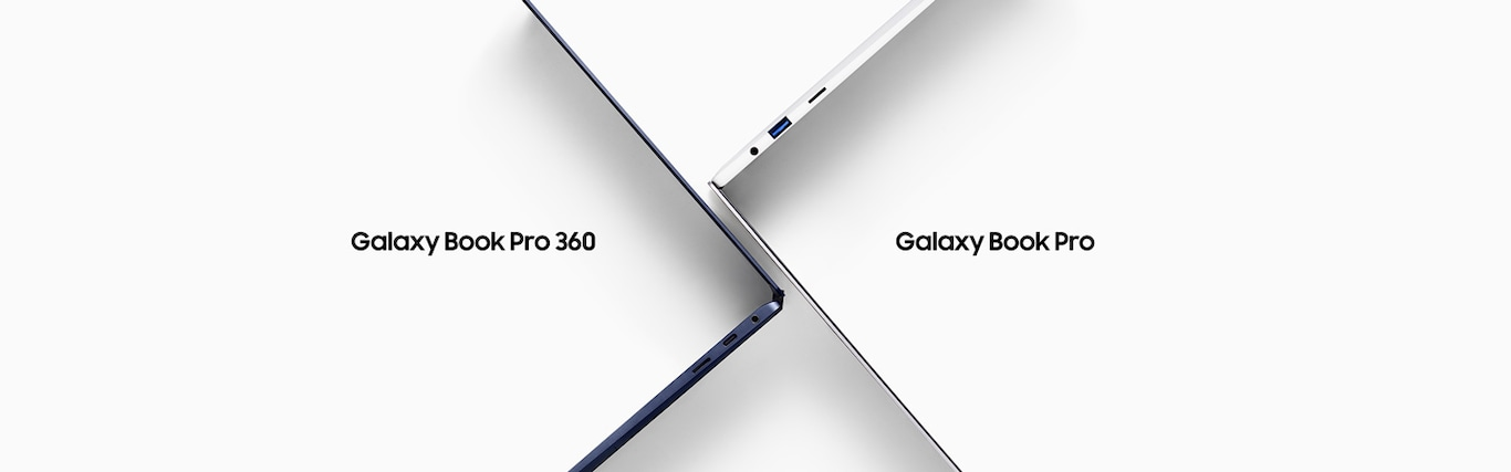 Bird's-eye view of a navy Galaxy Book Pro 360 and s Galaxy Book Pro opened at a 90 degree angle, standing on their sides and arranged in an overlapping cross shape.