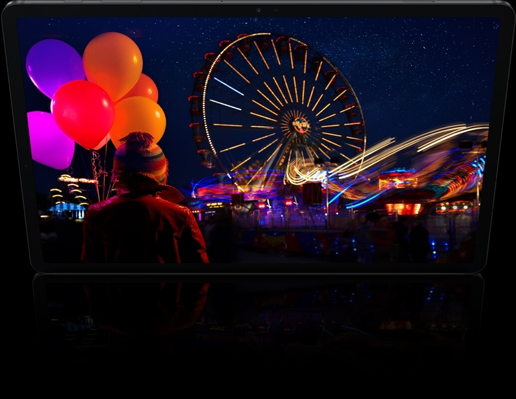 When watching movies on a vast Super AMOLED display, you 							get clear and vivid picture even in dark scenes. Fireworks 							extend beyond the screen to show how content comes to life.