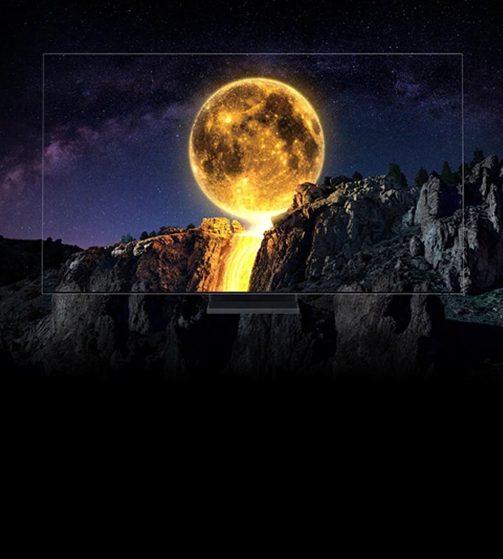 Samsung 2020 QLED TV which has complete Quantum Dot technology is being shown with the intensely shining moon on the screen. And It is showing Unrivaled QLED 8K with Quantum.