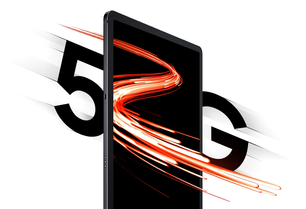 A flash of light goes through Galaxy Tab S7+ as it sits at 																an angle between 5 and G typography, demonstrating the speed of 																5G