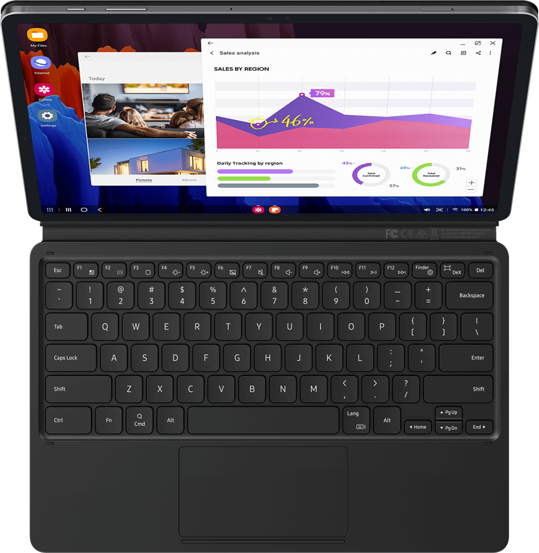 When the magnetic BookCover Keyboard is attached to 																				Galaxy Tab S7+, you can simply press the DeX hotkey to 																				complete your PC-like experience