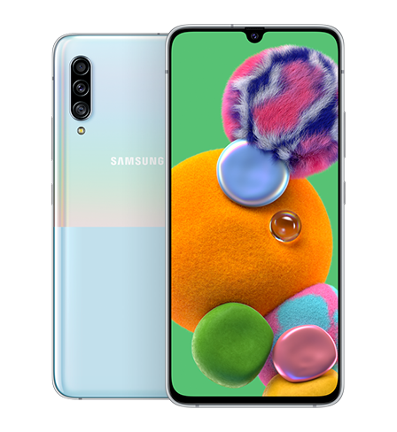 Back and front view of the Samsung Galaxy A90 5G in portrait mode