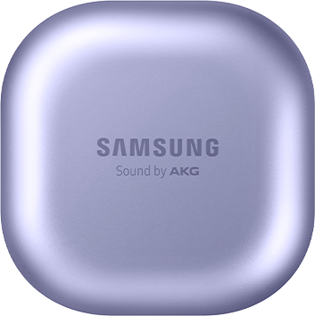 Galaxy Buds Pro charging case in Phantom Violet, seen closed. Animated rings circle the case to demonstrate the long-lasting battery power.