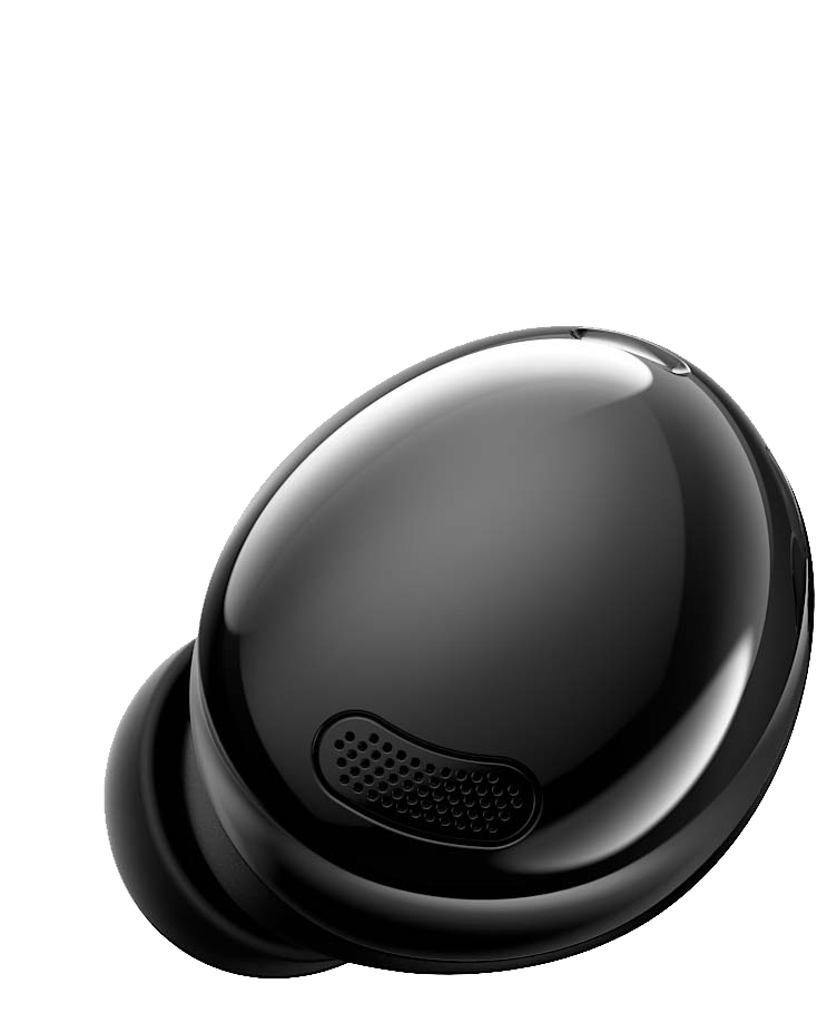Left Galaxy Buds Pro earbud in Phantom Black seen from the front.