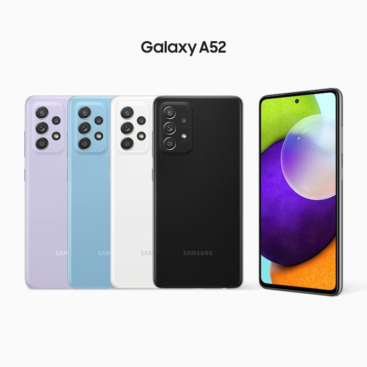 A row of Awesome Violet, Awesome Blue, Awesome White and Awesome Black A52's have their rear sides facing forward, with another model on the right side facing forward at a slight angle. On its screen is a combination of colorful round shapes.